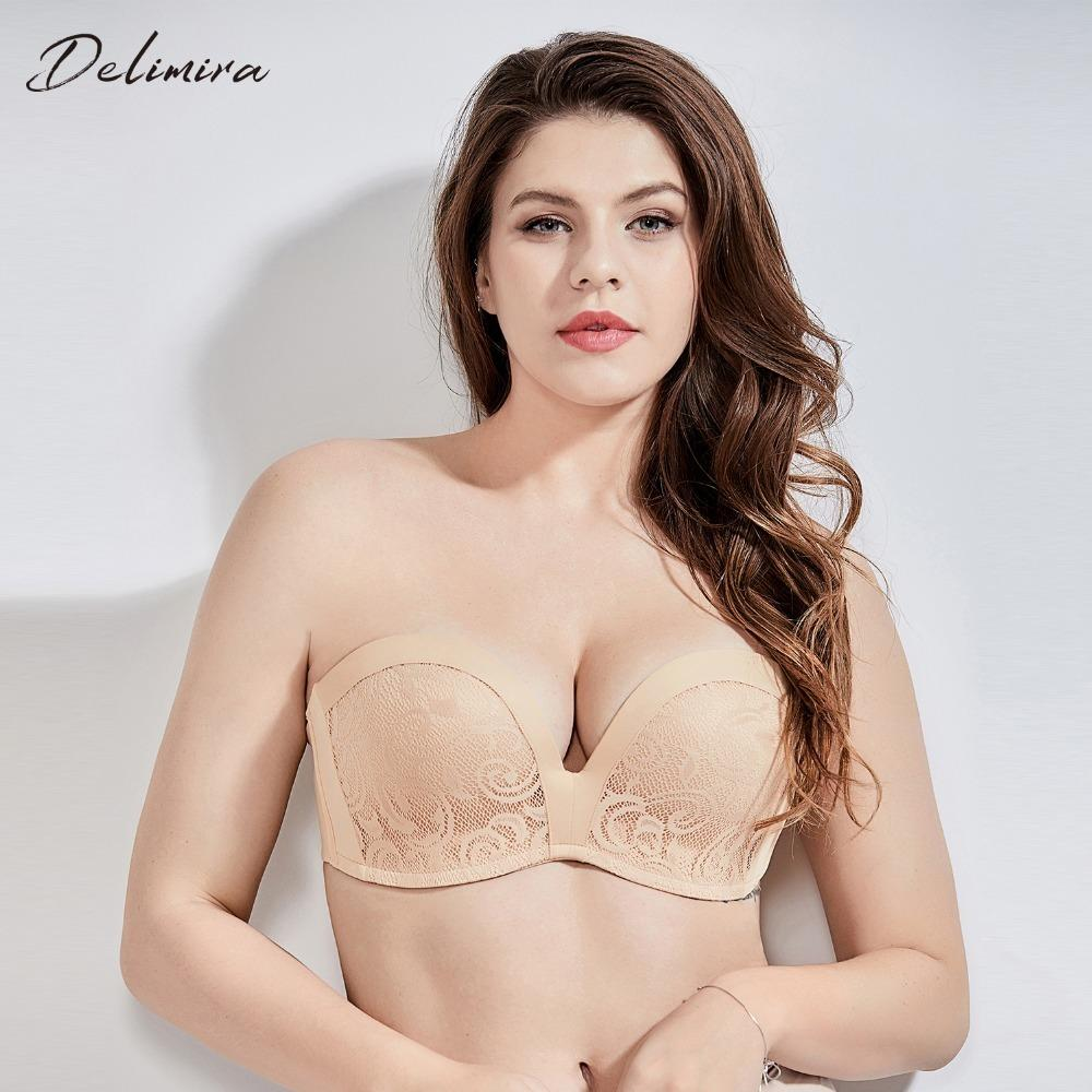 Delimira Women's Slightly Padded Push Up Lace Great Support Strapless Bra Y19071901