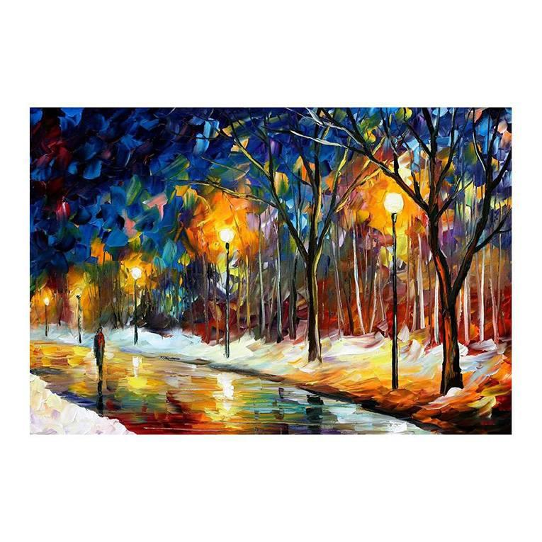 40x30 Hand-painted oil painting colour romantic couples a picture to the sitting room sofa background walking in the street Bright style