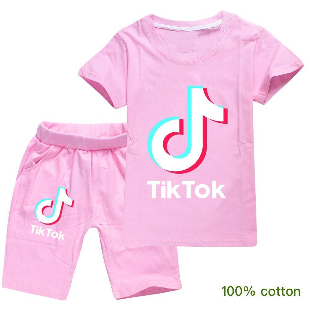 2020 HOT بيع تيك توك أطفال تي شيرت السراويل اثنين من قطعة قطن مريح للتنفس قصيرة الأكمام الاطفال ملابس الأطفال السراويل tiktok
