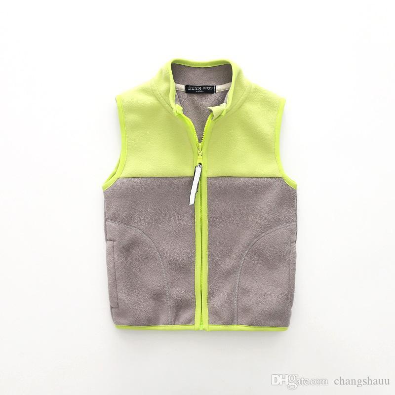 Новые Детские жилетки для мальчиков и девочек Весна Осень Теплый флис Детская верхняя одеждаПальто повседневная куртка без рукавов