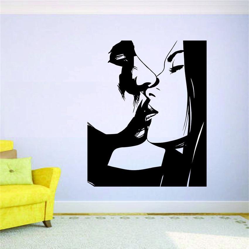Kiss Wall Mural Vinyl Decal Sticker Decor Woman Girl Man Love Romance Passion Art Decor living Modern Design Wall Sticker