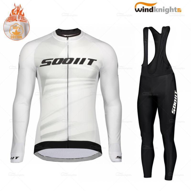 Зимние длинным рукавом Велоспорт одежда набор Скоттинг RC мужчин Дорожный велосипед Uniform термальной ватки MTB цикл Джерси Bib брюки костюм