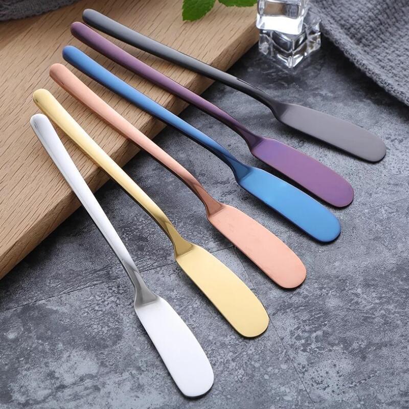 304 manteiga de aço inoxidável faca de manteiga jam faca espátula cream cheese flor faca de montagem de mesa ocidental