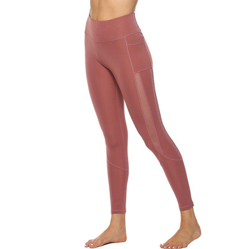 Sexy magro da aptidão Leggings Puxe Ladies cintura alta Bolso Workout PantsRunning malha sem emenda Legging calças compridas