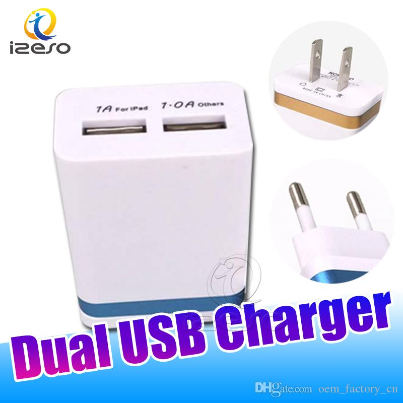 5V 1A Dual USB Wall Charger Travel Portable Mini Universal Charging Adapter for iPhone 12 Pro Max Hauwei Tablet Moblie Phone Chargers izeso