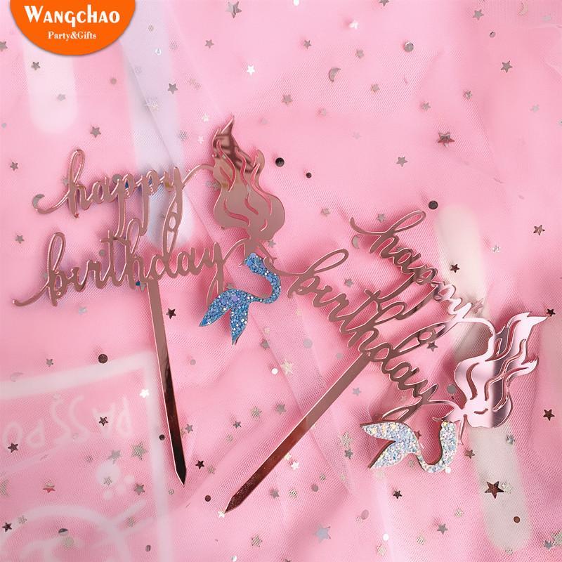 Encantador Sereia Acrílico Feliz Aniversário Bolo Topper Pequena Sereia Fontes Do Partido Bonito Dos Desenhos Animados DIY Decoração Do Bolo