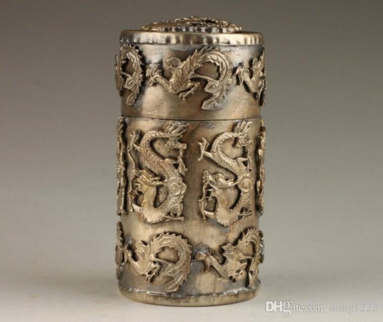 Vintage Collection Handmade Unique Dragon Silver Silver Phoenix Phoenix palillo