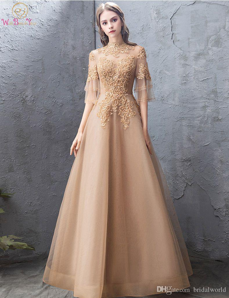 05ce24a0c95e Gold Tulle Evening Dress 2019 Luxury Top Lace Elegant New Design Illusion  Sleeves A Line High ...