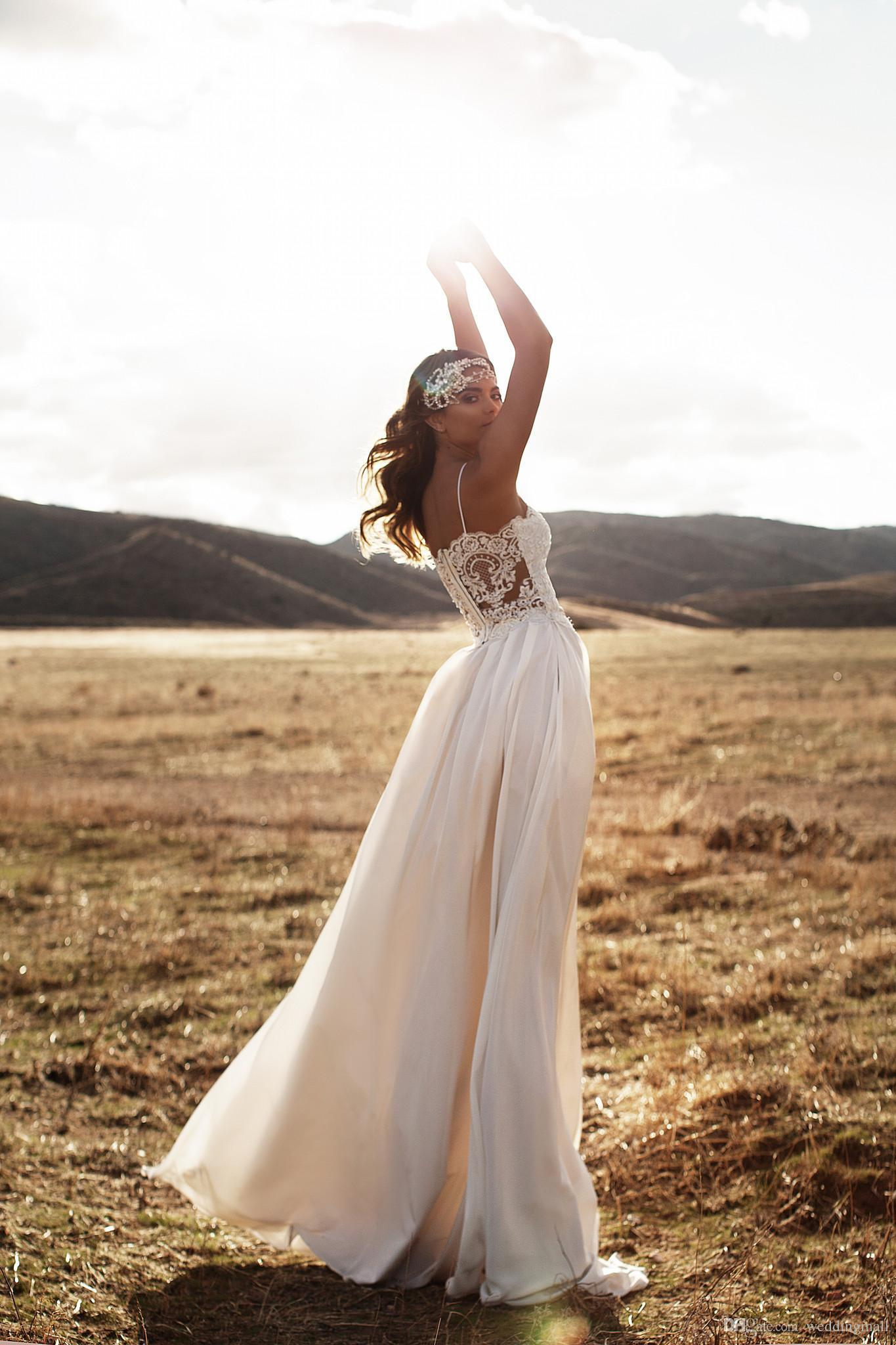 2020 New Vintage Lace Beach Wedding Dresses Spaghetti A-line Chiffon Floor Length Bridal Dresses Simple Cheap Wedding Gowns 2018