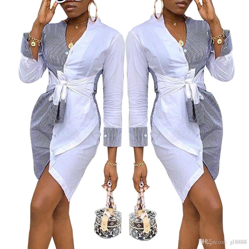 Frauen-Streifen-Hemd-Kleid-Abend-Partei-Minikleid Langarm-Kleid-beiläufige