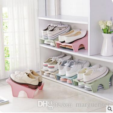 Double Shoes Racks Plastic Shoe Shelf Creative Stackable Shoes Organizer Save Space Double Layer Shoe Holder