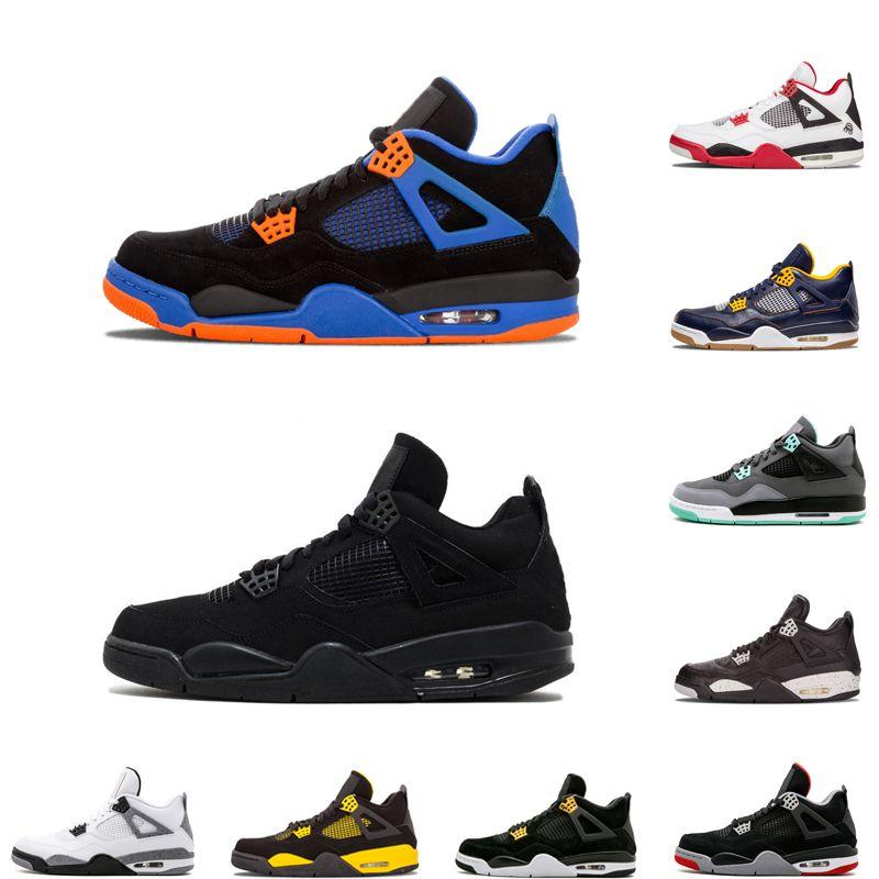 Venta caliente 4 4s zapatos de baloncesto criado gato negro oreo cemento blanco CAVS cactus jack Hombres Deportes Diseñador zapatillas tamaño nos 7-12