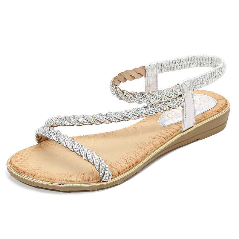Scarpe Donna Sandali di stile della Boemia estive per le donne piatto sandali Scarpe spiaggia Flip Flops Plus Size Chaussures X9X30286 Y200405