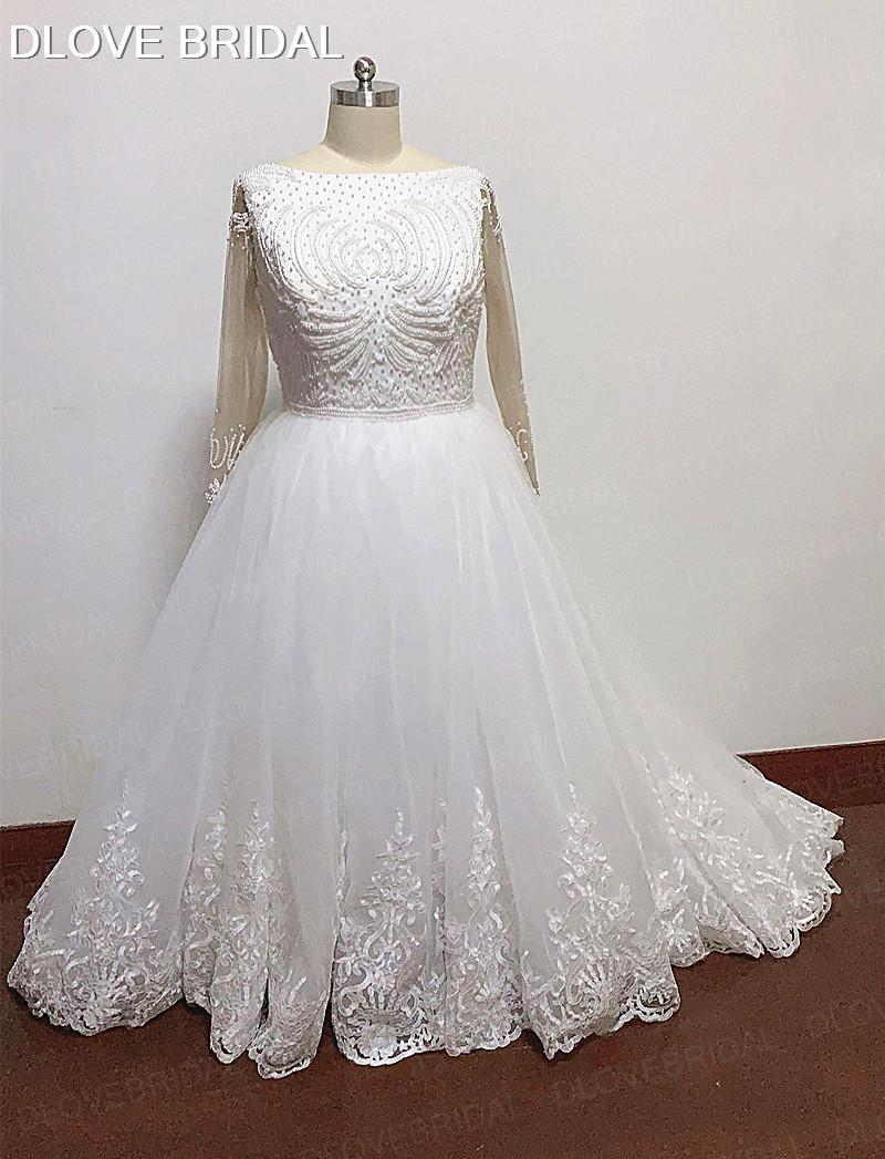 High Quality Plus Size Ball Gown Wedding Dress with Long Sleeves Delicate Pearl Beaded Bridal Gown Vestido De Novia Real Photos