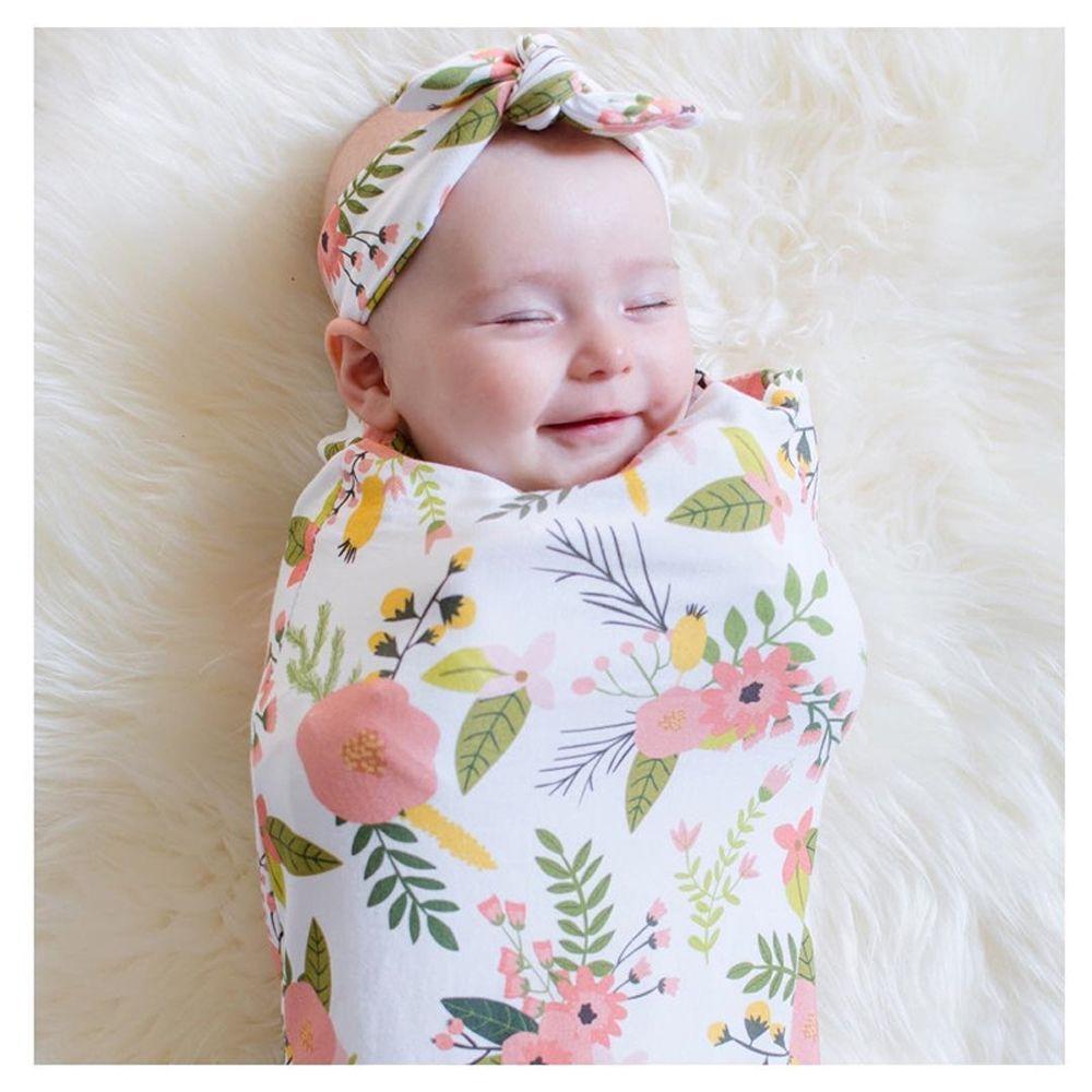 Newborn Baby Infant Floral Swaddle Wrap Swaddling Sleeping Bag Blanket/&Headband