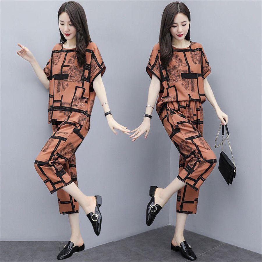 Grande Big Size Donna 2 piece set top e pantaloni Pantaloni a gamba larga Suit Set elastico in vita Anni costume femminile Tuta T200702
