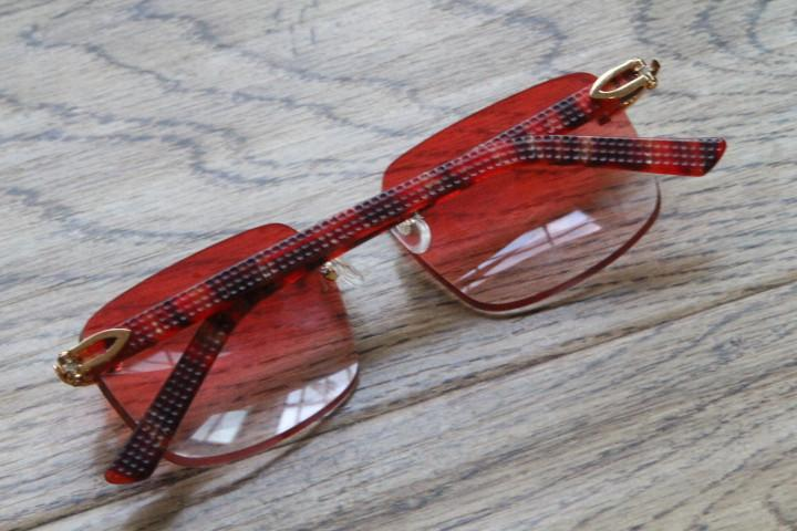 New Marble Red Aztec Rimless 8200816 popular Men or Woman designer Sun Glasses Red Aztec Arms Sunglasses Unisex glasses Hot