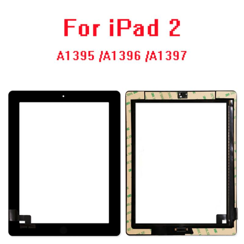10Pcs/lot For iPad 2 Touch Screen Glass Digitizer Replacement + Home Button+adhesive+camera+hold A1395 A1396 A1397 Assembly