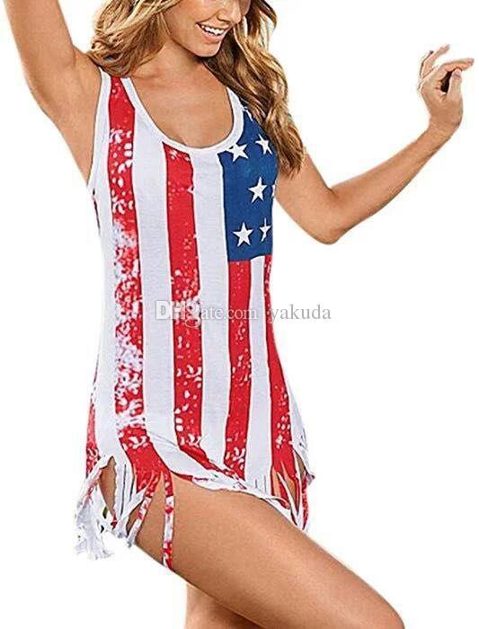 Tallas grandes para mujer Bikini sexy Bandera americana Rayas Bikini Trajes de baño, traje de baño de streetwear sport flexible flexible, señoras niña Big en línea