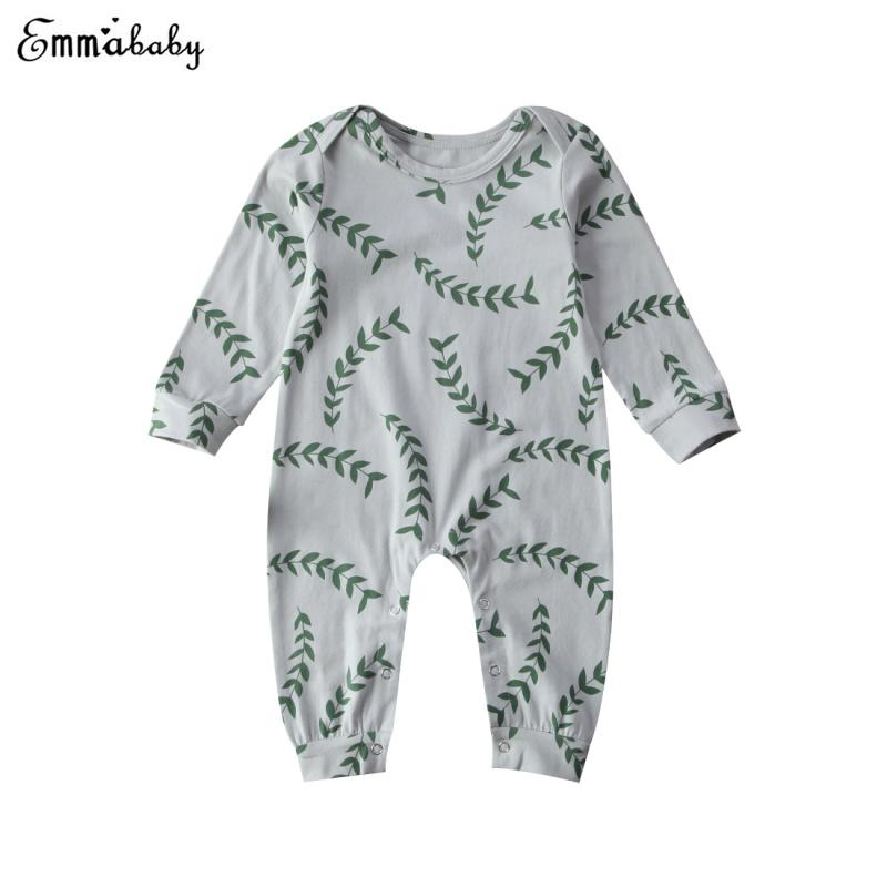 Newborn Toddler Infant Boy Rompers Leaves Print Clothes Cotton Long Sleeve Romper Jumpsuit Playsuit Outfits Set