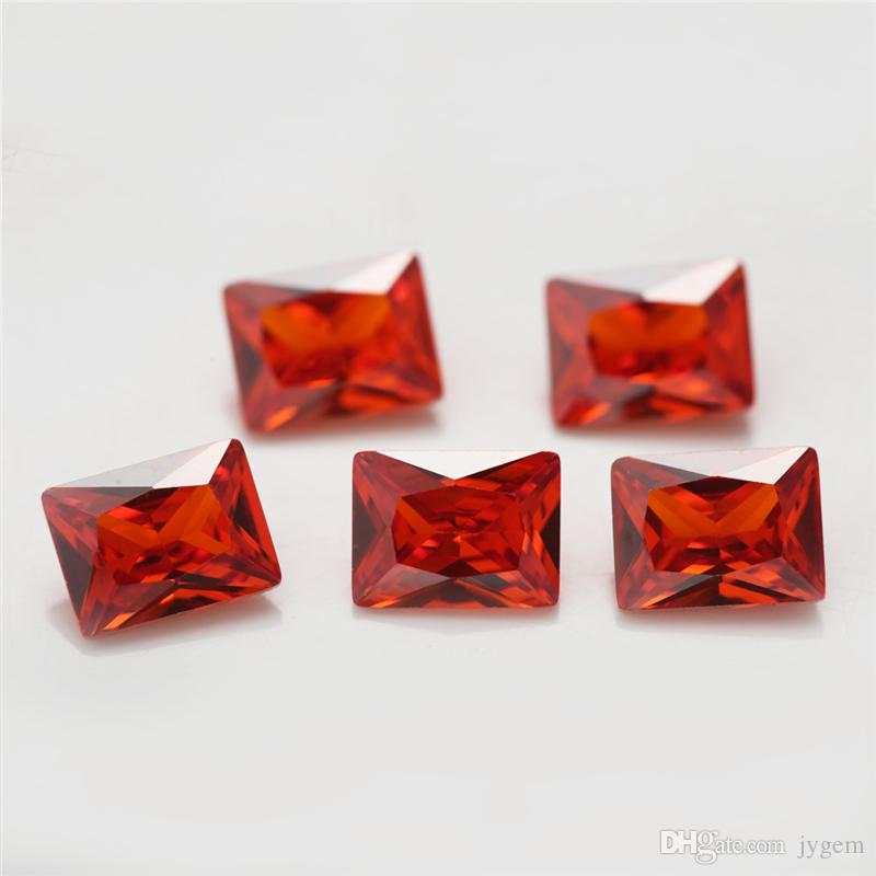2x3 ~ 13x18mm 5A Niveau couleur orange Forme rectangulaire Zircon Pierre Princesse Cut Loose CZ pierre gemmes synthétiques