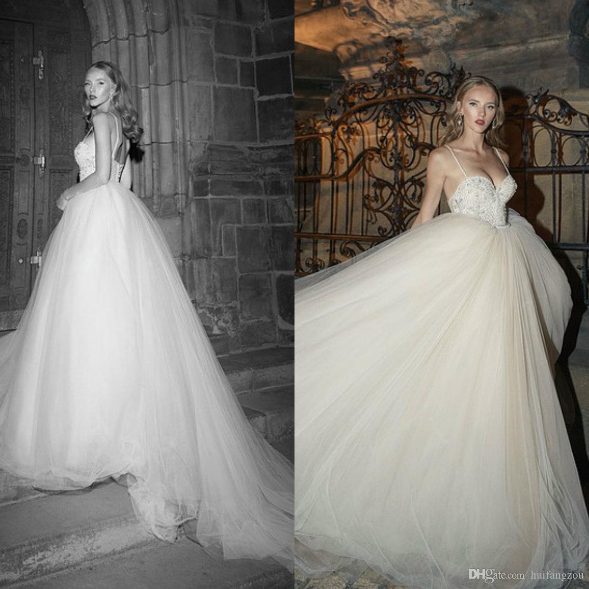 Ultimi abiti da sposa spaghetti con perline Sweetheart A Line Tulle Abiti da sposa Backless Long Beach Wedding Dress Plus Size