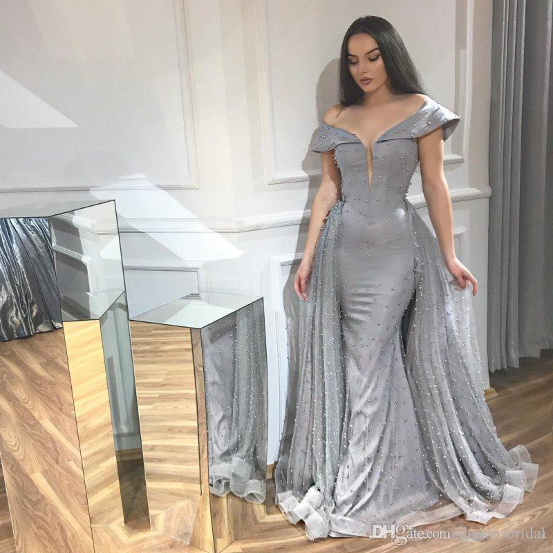 Gray Mermaid Beaded Evening Dresses Off The Shoulder Plunging Neck Formal  Dress Floor Length Plus Size Tulle Prom Gowns Red Evening Dresses Black ...