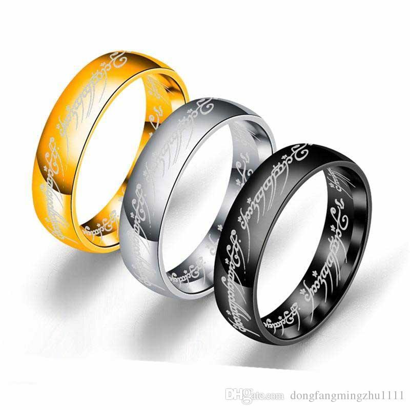 Baixo preço 3 cores Titanium aço O Hobbit Senhor dos Anéis anel de dedo 6mm 18 k prata ouro preto Anéis Mágicos para mulheres homens filme jóias