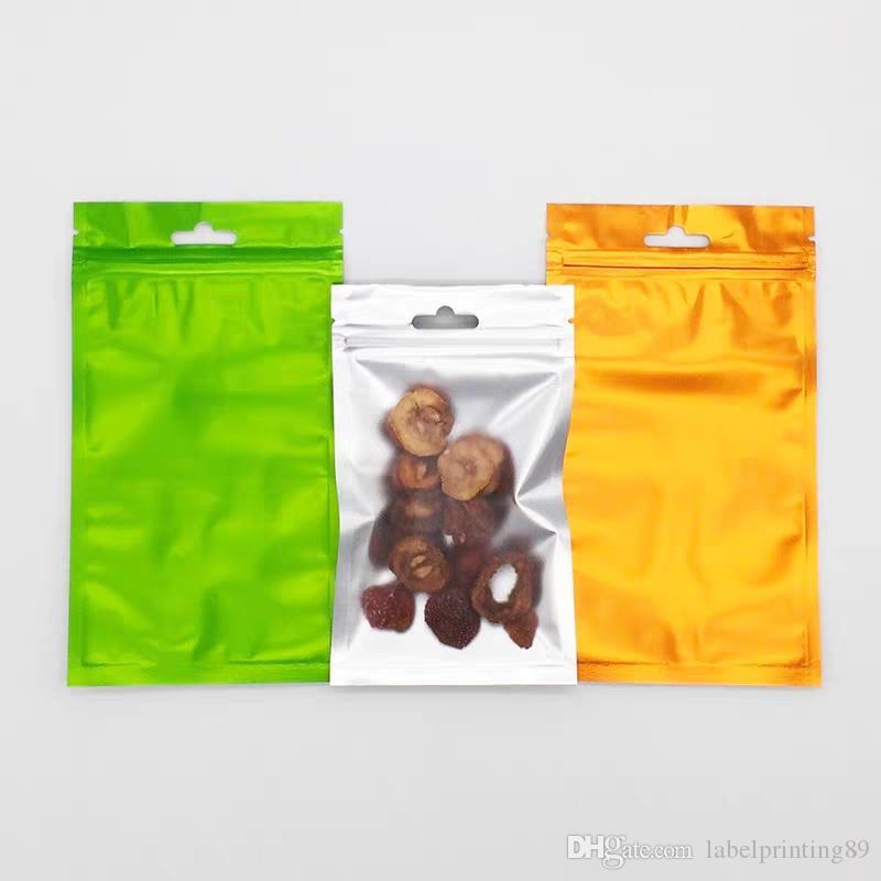 12 * 20cm 100pcs Matte Serrure à glissière Matte Sacs Effacer sur le devant avec pignon d'air suspendu alimentaire sèche stockage sacs sacs cadeaux emballage mylar feuille sac