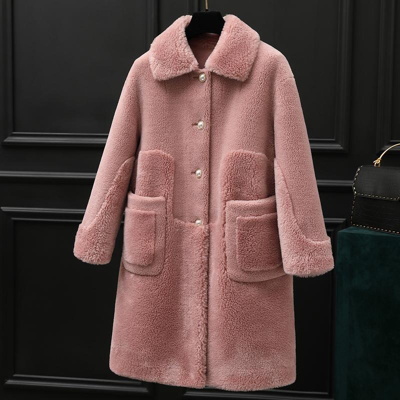Real casaco de pele de lã Jacket Outono Inverno Casaco feminino Roupa 2019 Sheep coreano Vintage Shearling Suede Lining Manteau Femme ZT3944