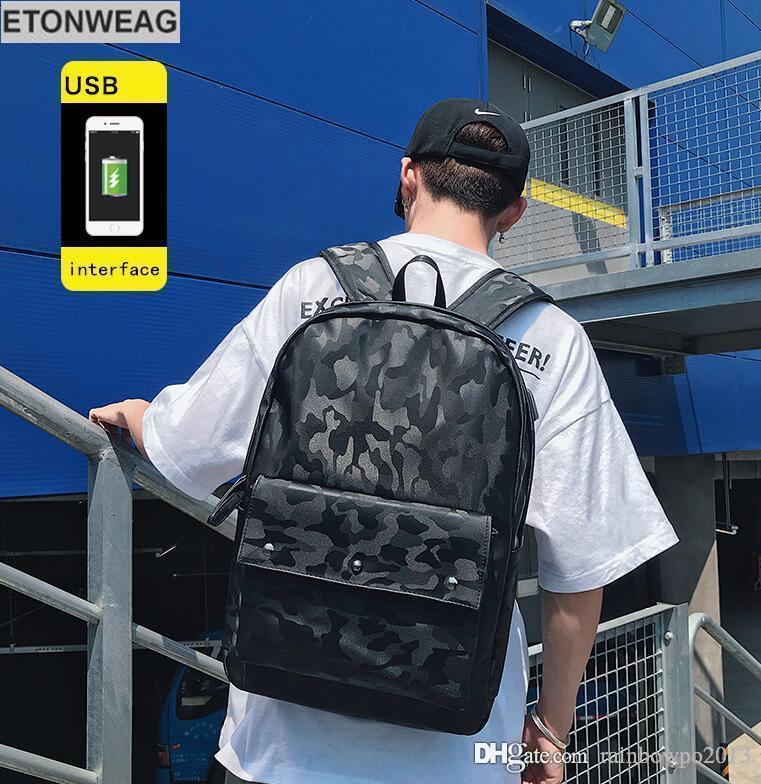 Fábrica de la venta directa de camuflaje hombre de marca paquete de moda de cuero morral del estudiante de Corea bolso de la computadora de camuflaje al aire libre mochila de ocio