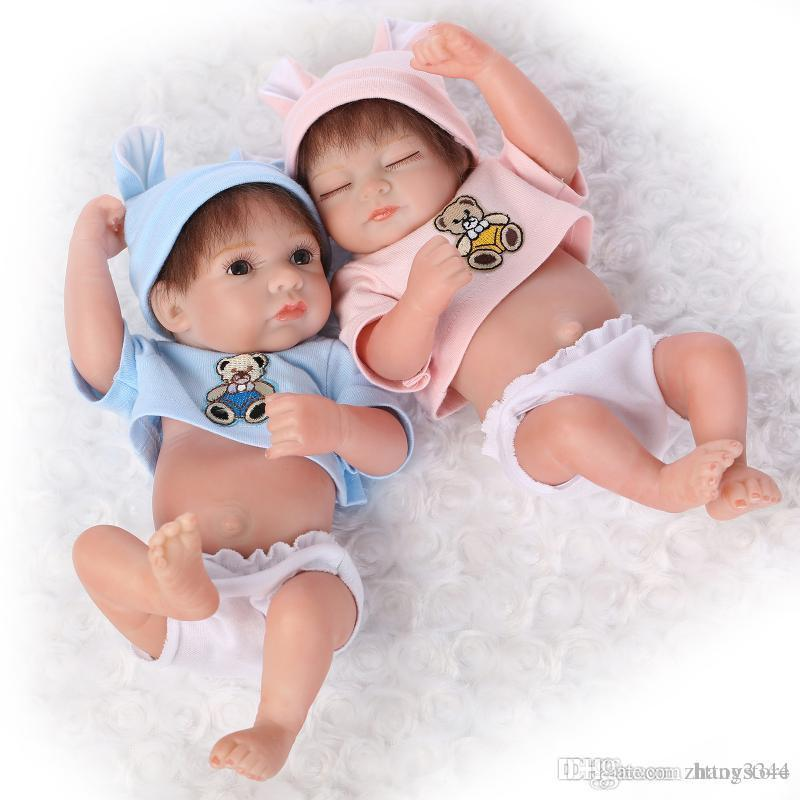 ht 25cm Mini Full Silicone Reborn Baby Doll Toys Lifelike Handmade Newborn Baby Dolls Baby Bedtime Play House Bathe Shower Toy