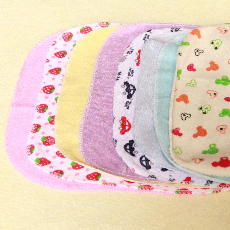 8pcs / pack de algodão recém-nascidos do bebê Toalhas 22,9 * 22,9cm Saliva Enfermagem toalha babadores praça de alimentação Toalhas Lenço de toalhas pequena
