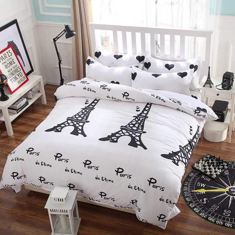 2016 новый комплект постельных принадлежностей, я люблю Парижский стиль,Комплект Утешителя, пододеяльник/ простыня/наволочка,пододеяльник, нет одеяла
