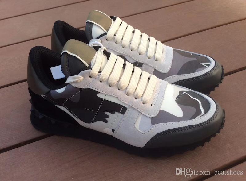 2019 عشيق rockrunner التمويه المدربين مصمم أحذية شبكة حقيقية الجلود كومبو روك عداء رياضية للرجال النساء المطاط الوحيد مع مربع