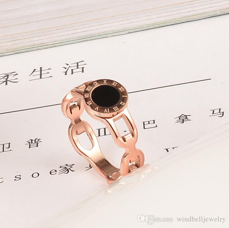 Fashion Stainless Steel Cut-out Roman Numerals Ring 316 Surgical Titanium Steel MOP Band Ring For Woman Rose Gold Women's Ring Jewelry
