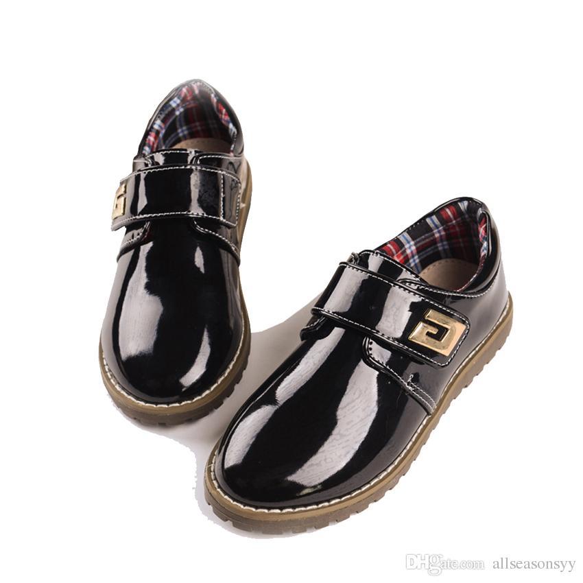 Compre Zapatos De Cuero Genuino De Los Nuevos Niños Zapatos De Vestir Formales De Los Niños Zapatos De Cuero Elegantes De La Boda Niños Polaco Calzado