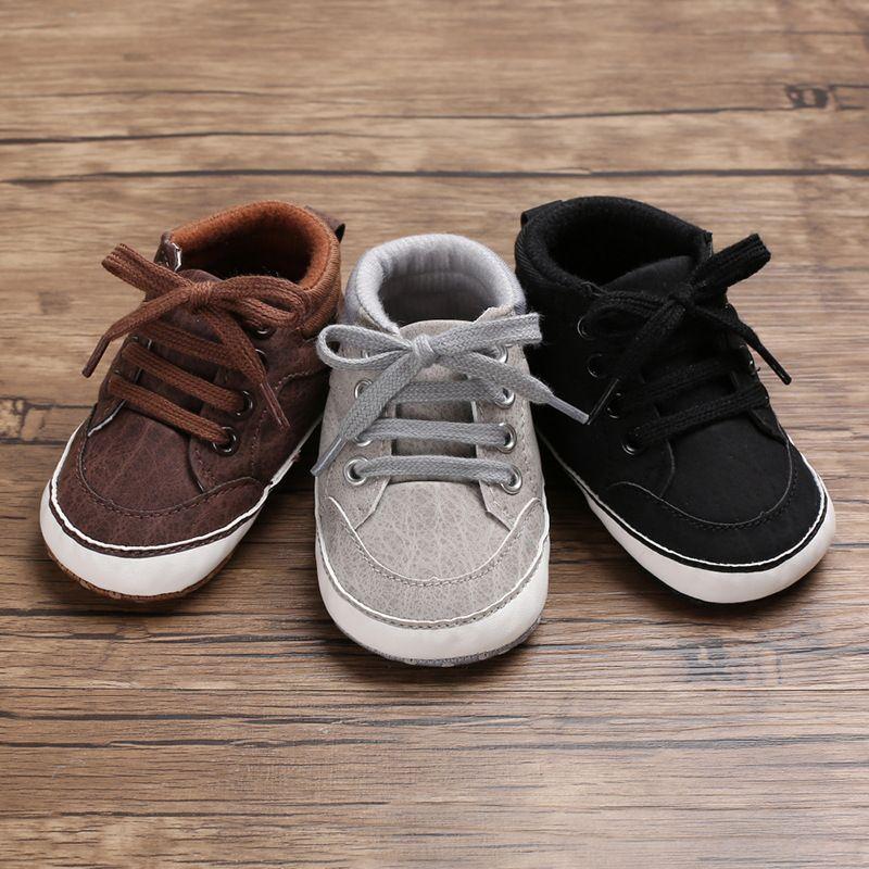 Calçados de Bebês recém-nascidos Meninos Primeiros caminhantes crianças Crianças Lace Up PU Sneakers 0-18 Meses