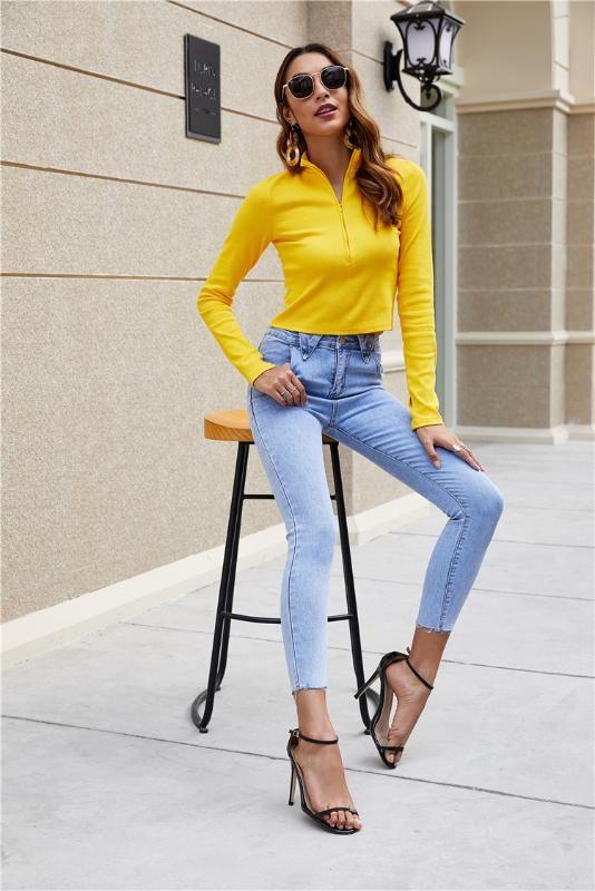 EAD dei jeans a vita alta delle donne del triangolo della vita di disegno bordo stretch piedi pantaloni di Modo di estate sottile selvaggio più il formato Nove pantaloni