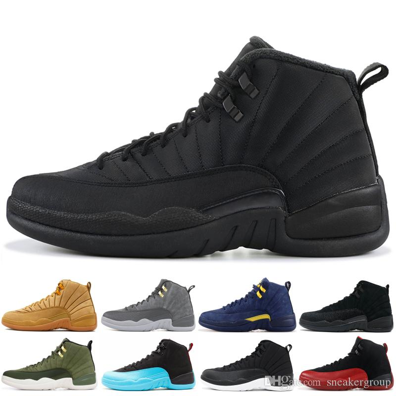 Лучшая 12 12s High Баскетбольной обуви Мужской кожа Wntr PRM Мичиган французской синий XII Мужчины обувь Спорт Конкурентные кроссовки