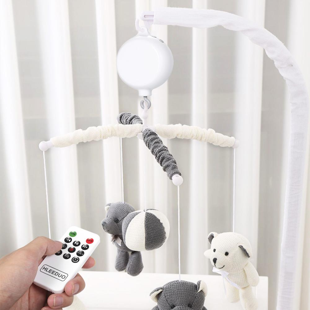 Rotary Baby Crib Bed Toy Musical Mobiles 35 Songs Music Box New Bed Bells Remote Control Movement Bells for Kids with USB Line T200429