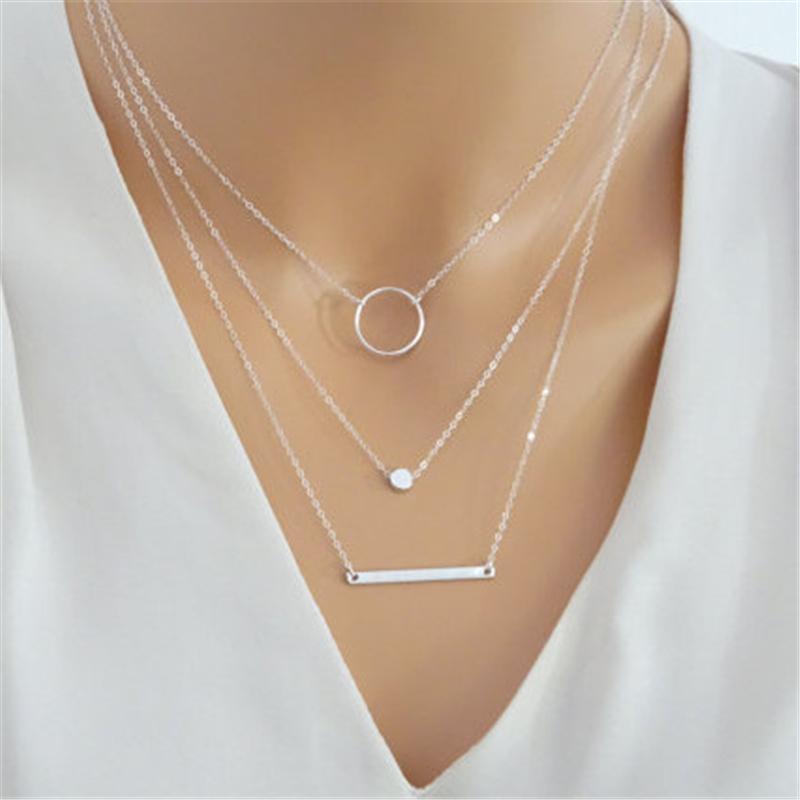 Мода Макси Заявление Многослойное Ожерелье Многоэлементный Металлический стержень Круги Геометрические Круглые Чокеры Ожерелья Женщины Ювелирные Изделия