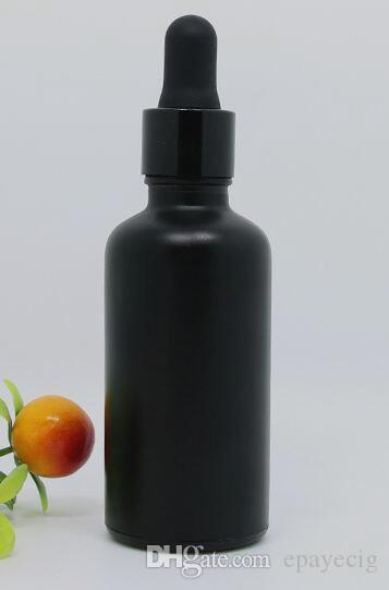 전자 액체 화장품 향수 정의 인쇄 골드 실버 블랙 캡 50ML 에센셜 오일 병 유리 dropper 병 매트 블랙 라운드