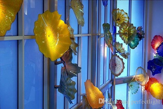 Placas de pared de vidrio soplado de diseño de arte Multi Color Modern Crystal Murano Glass Art Placas de pared decorativas