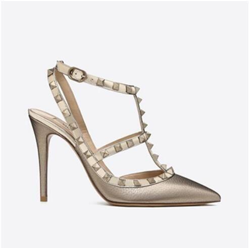 New fashio donna sandali tacchi alti scarpe da sposa in pelle verniciata rivetti sandali donna con borchie scarpe con strappy v scarpe tacco alto + scatola # 23