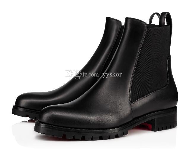 مصمم الأزياء ذو الكعب العالي ماركاكروش أحذية الكاحل الأسود للشتاء للنساء ذوات الحذاء الأحمر السفلي