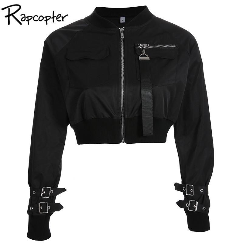 Rapcopter Верхняя одежда Пальто Bomber Jacket Женщины патч с длинным рукавом осень карман куртки Hig талии пряжки Zipper Streetwear JacketMX190929