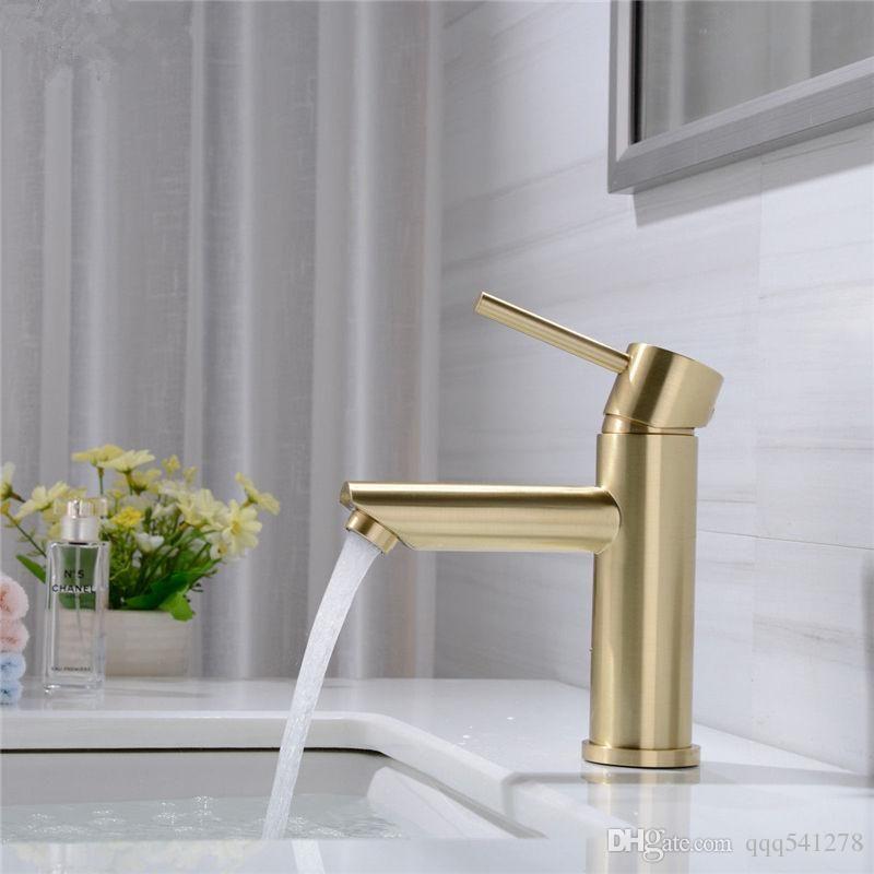Massivem Messing Bad Wasserhahn Heißer Kaltwasserhahn Deck Montiert Installieren Einzigen Handgriff Waschbecken Wasserhahn Gebürstet Gold Schwarz