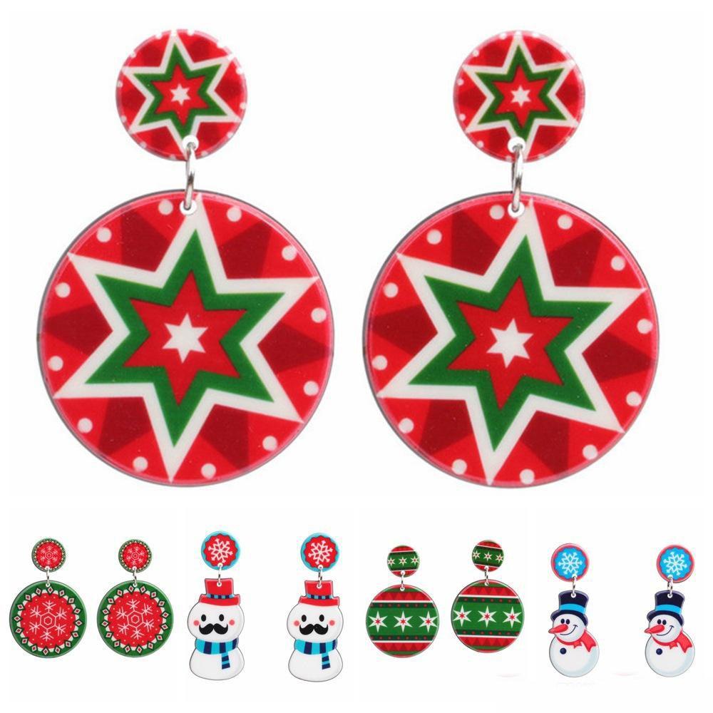 wholesale creative Christmas ball snowfake snowman earrings Acrylic drop dangle earrings party wedding jewelry christmas gift