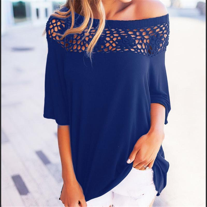 Fashion-T Shirts Mujeres Patchwork Otoño Verano Casual Camiseta Hollow Out Lace Tee Tops Sexy Loose Femme Plus Size Ropa de mujer
